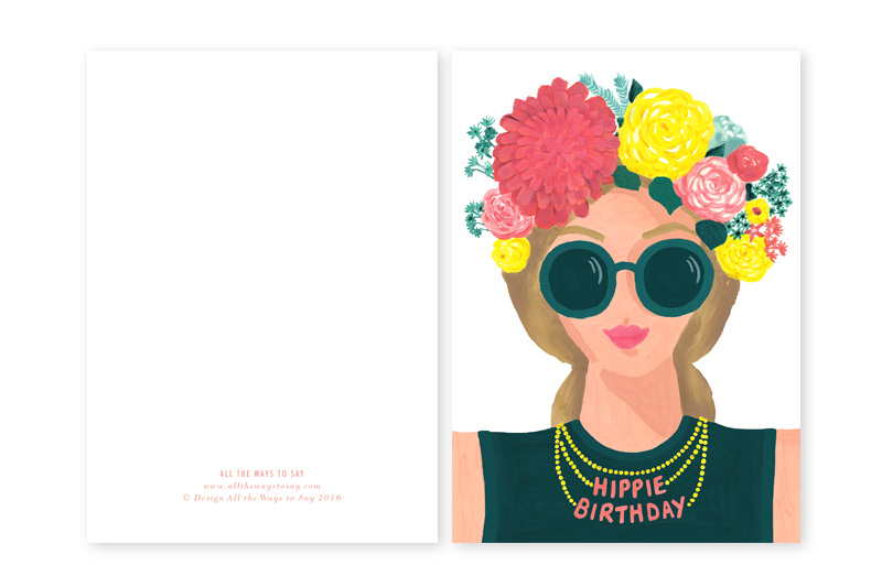Hippie girl, happy brithday card