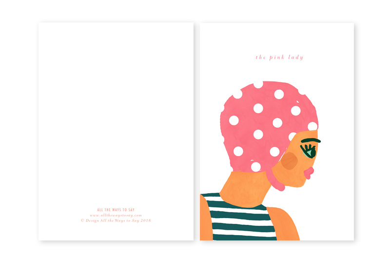 pink lady illustrated greeting card