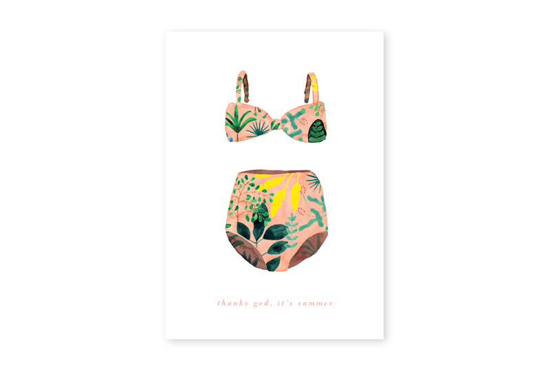 swimsuit illustrated greeting card